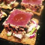 Ahi Tuna on Wonton Crisp with Sriracha Sauce
