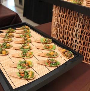 Lettuce Wrap Bites on Bamboo Spoons