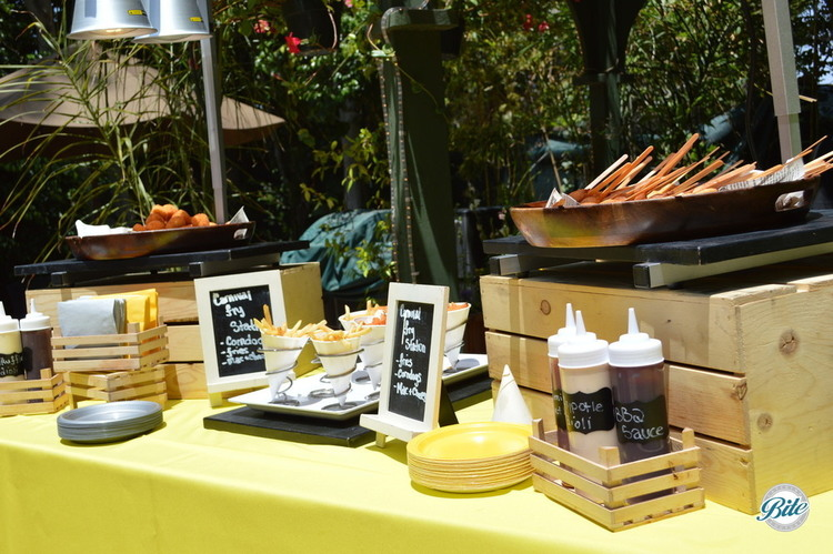 Outdoor summer event with carnival fry action station including: mini corn dogs, french fries and ma n cheese, also served with BBQ sauce, aioli and ketchup
