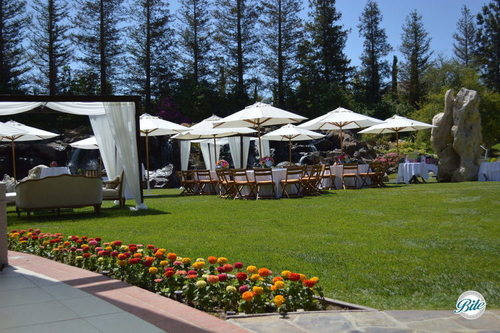 Guest Tables Laid Out Under Tents and Umbrellas
