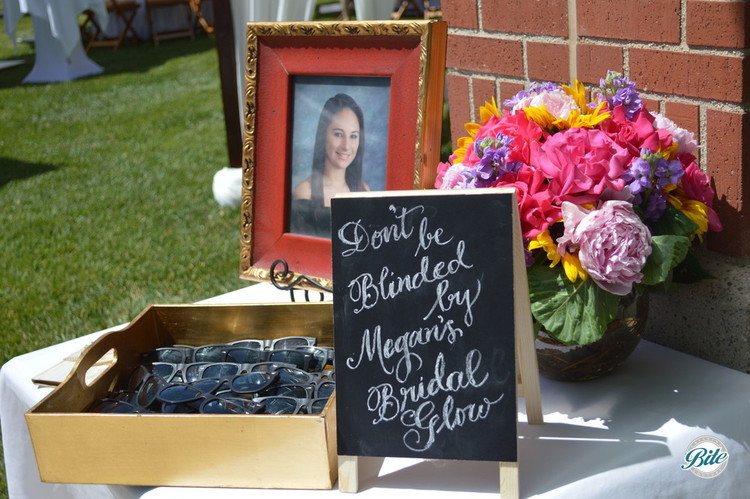 Sunglass favors at outdoor bridal shower