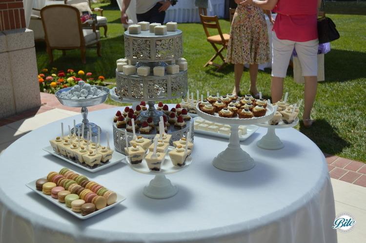 Dessert assortment including petite fours, french macaron, seasonal dessert shots and brownie truffle bites