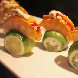 Mini Fish Tacos Displayed in Lime