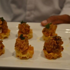 Tray Passed Mini Chicken and Waffle Bites