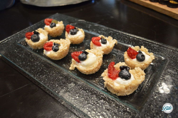 Crispy cereal cups with yogurt and berries.  It's like cereal in a bite!