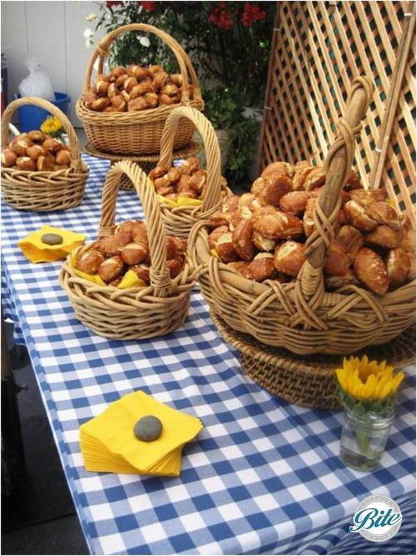Artisan bread baskets on picnic style display