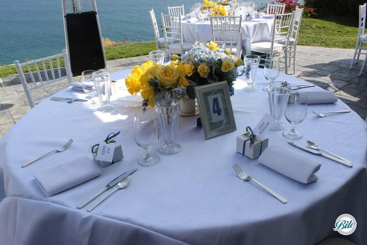Malibu Home Backyard Wedding Centerpieces