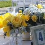 Backyard Wedding Centerpieces and Table Numbers