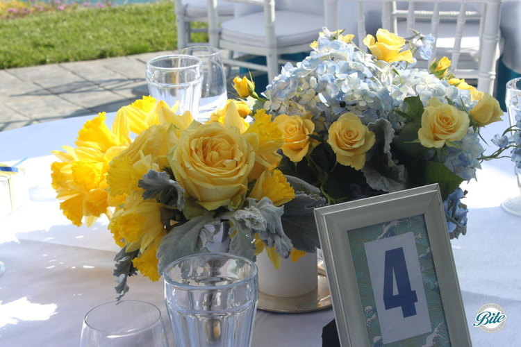 Centerpieces and Table Numbers ahead of Service