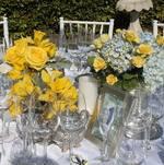 Table centerpiece for backyard wedding