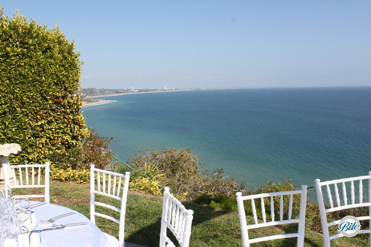 View of the ocean from backyard wedding in Malibu