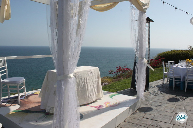 Closeup of altar overlooking the ocean in beautiful Malibu wedding