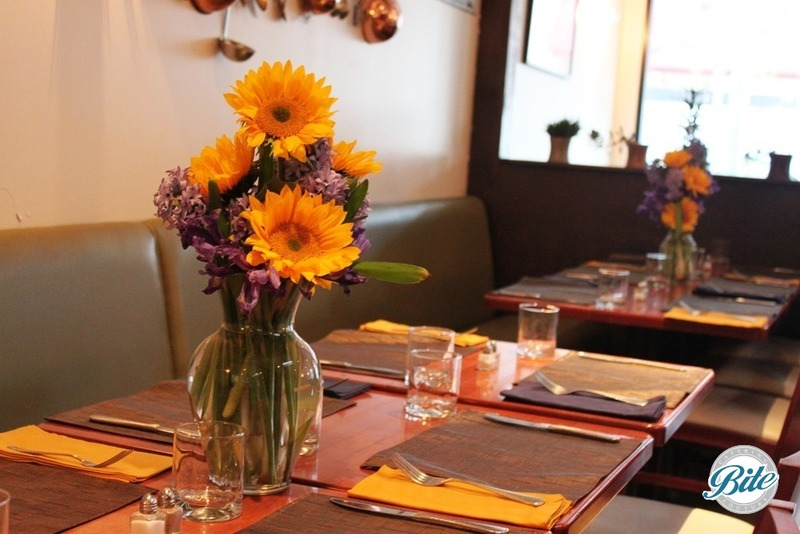 Spring table setting with sunflowers