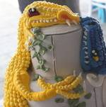 Closeup of Dragons on Wedding Cake