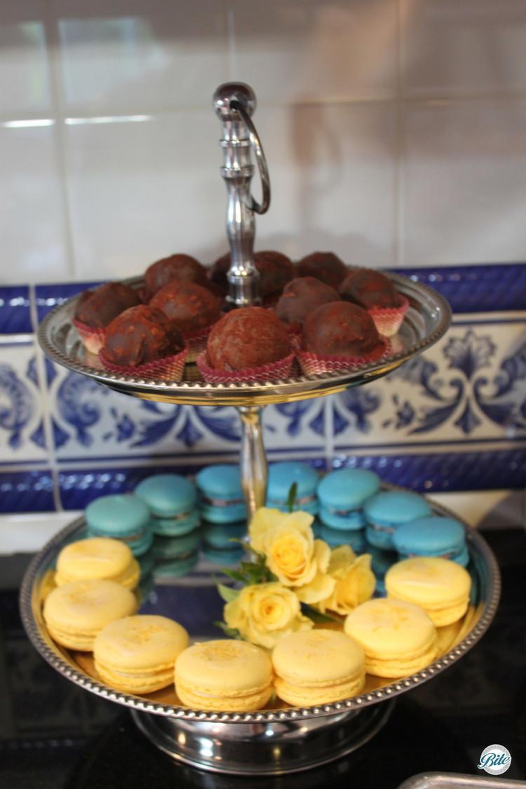 Blue and yellow macaron