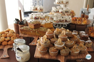 Continental breakfast display with pumpkin bread, banana muffins, granola parfait, scones, and clotted cream
